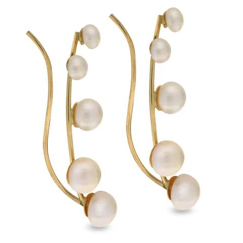 PearLustre by Imperial 14KY Graduated FWP Crawler Earrings