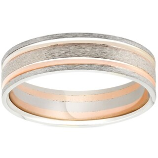 Link to Pompeii3 14k White & Rose Gold 6MM Flat Brushed Two Tone Comfot Fit Mens Wedding Band Similar Items in Rings
