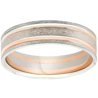Bliss 14k White & Rose Gold 6MM Flat Brushed Two Tone Comfot Fit Mens Wedding Band