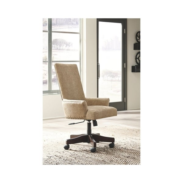 signature design by ashley baldridge light brown upholstered swivel rh overstock com linen upholstered swivel desk chair For Women Upholstered Desk Chairs