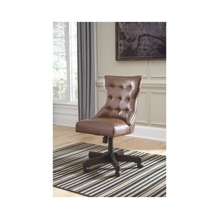 Signature Design by Ashley Office Chair Program Brown Faux Leather Home Office Swivel Chair