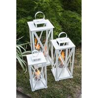 Madison 25.5x14in. Gel Fuel Lantern in White by Terra Flame (Large) - N/A