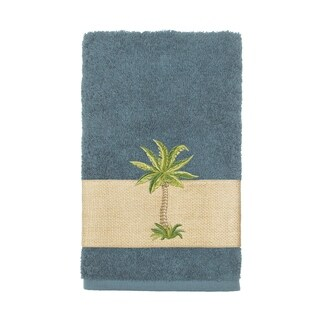 Authentic Hotel and Spa Turkish Cotton Palm Tree Embroidered Teal Hand Towel