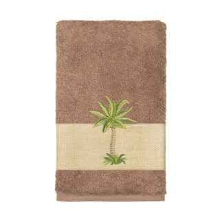 Authentic Hotel and Spa Turkish Cotton Palm Tree Embroidered Latte Brown Hand Towel