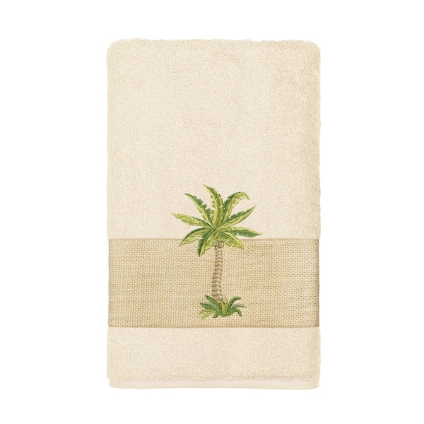 Authentic Hotel And Spa Turkish Cotton Palm Tree Embroidered Cream Hand Towel