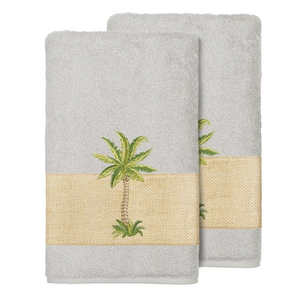 Authentic Hotel And Spa Turkish Cotton Palm Tree Embroidered Grey Bath Towels Set Of 2