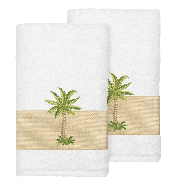 Authentic Hotel and Spa Turkish Cotton Palm Tree Embroidered White Hand Towels (Set of 2). Opens flyout.