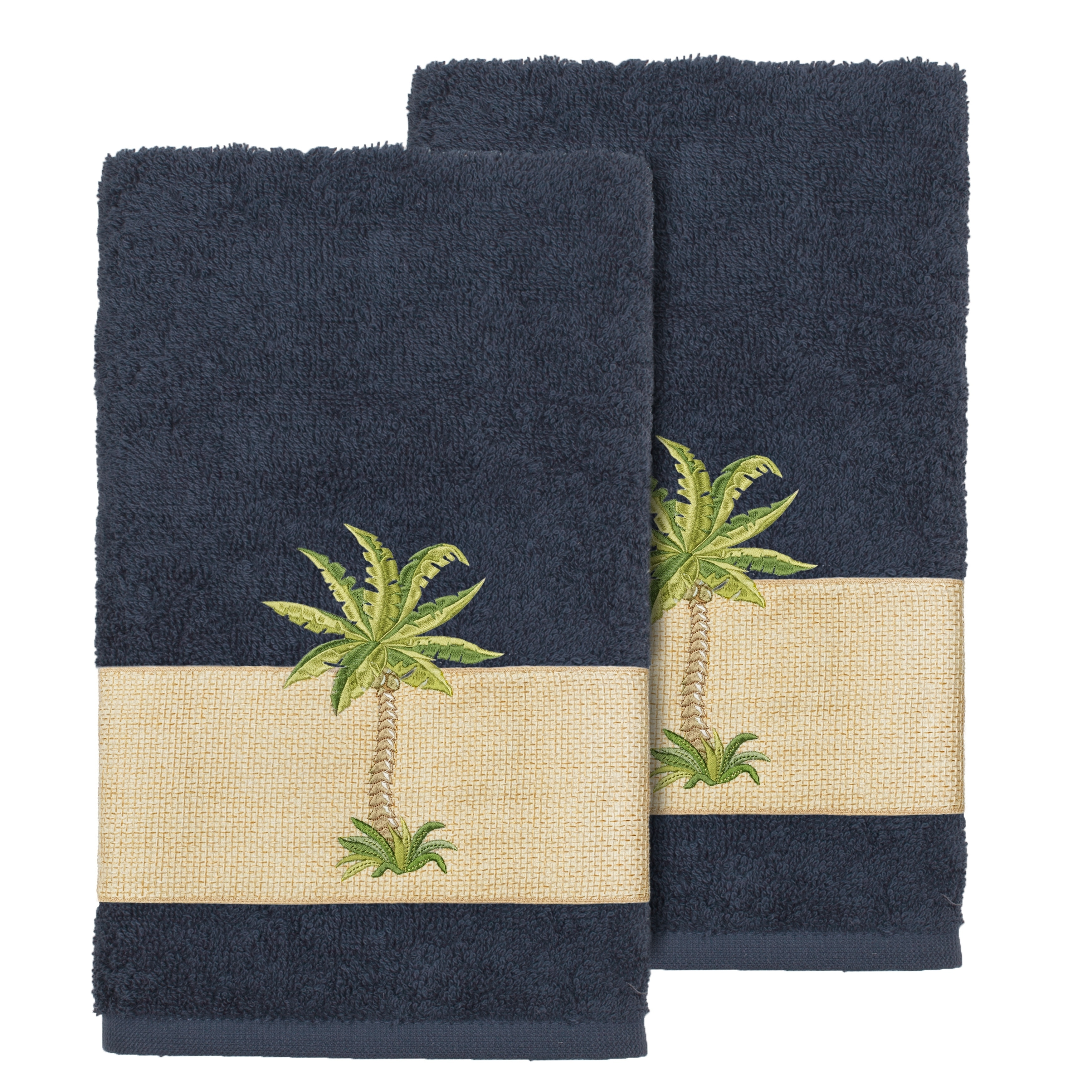 Authentic Hotel And Spa Turkish Cotton Palm Tree Embroidered Midnight Blue Hand Towels Set Of 2
