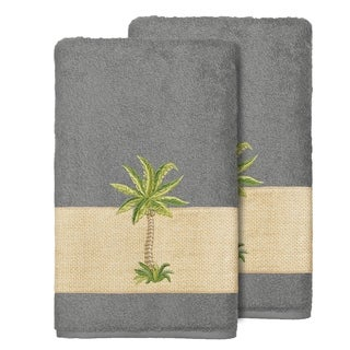 Link to Authentic Hotel and Spa Turkish Cotton Palm Tree Embroidered Charcoal Grey Bath Towels (Set of 2) Similar Items in Bathroom Accessory Sets