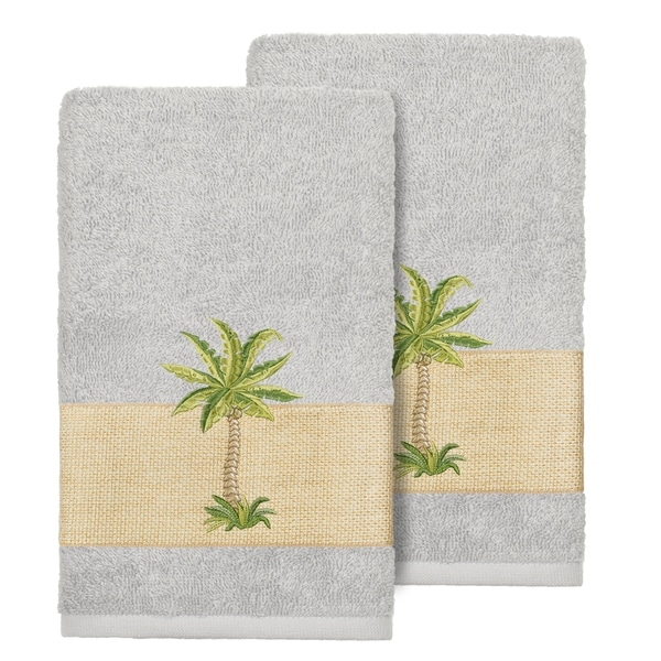 Authentic Hotel And Spa Turkish Cotton Palm Tree Embroidered Grey Hand Towels Set Of 2