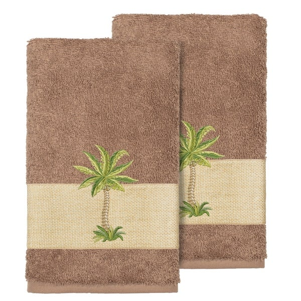 Authentic Hotel And Spa Turkish Cotton Palm Tree Embroidered Latte Brown Hand Towels Set Of