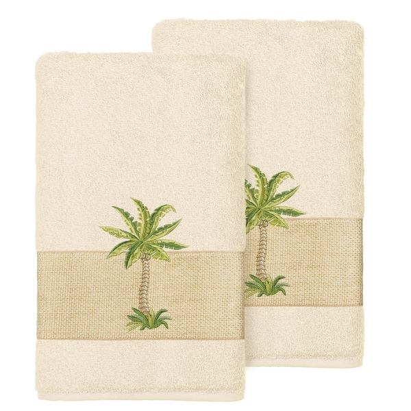 Authentic Hotel And Spa Turkish Cotton Palm Tree Embroidered Cream Hand Towels Set Of 2