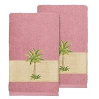 Authentic Hotel and Spa Turkish Cotton Palm Tree Embroidered Tea Rose Hand Towels (Set of 2)