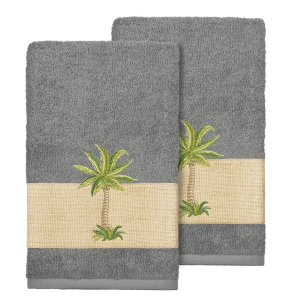 Authentic Hotel And Spa Turkish Cotton Palm Tree Embroidered Charcoal Grey Hand Towels Set Of