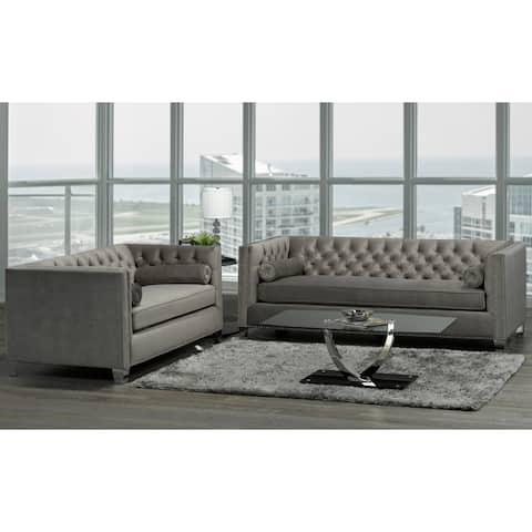 Hank Modern Grey Velvet Tufted Nailhead Sofa and Loveseat - Natural