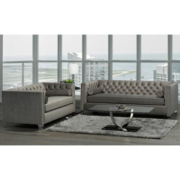 Hank Modern Grey Velvet Tufted Nailhead Sofa And Loveseat