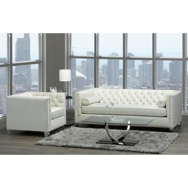 Modern Nailhead Sofa: Shop Oz Modern Ivory Velvet Tufted Nailhead Sofa And Chair