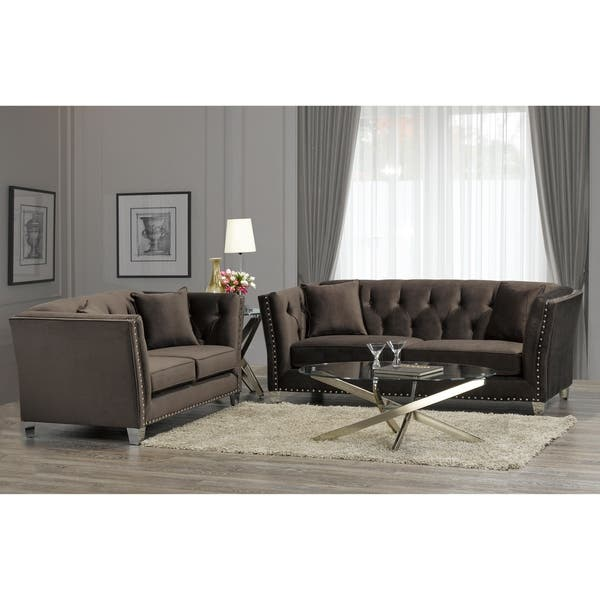 Harlow Modern Chocolate Brown Velvet Tufted Nailhead Sofa and Loveseat