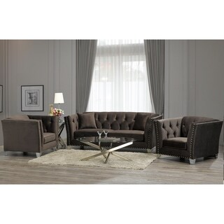 Harlow Modern Chocolate Brown Velvet Tufted Nailhead Sofa and Two Chairs