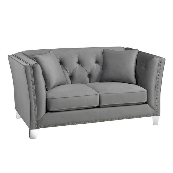 Incredible Shop Fiona Modern Grey Velvet Tufted Nailhead Sofa Loveseat Pabps2019 Chair Design Images Pabps2019Com