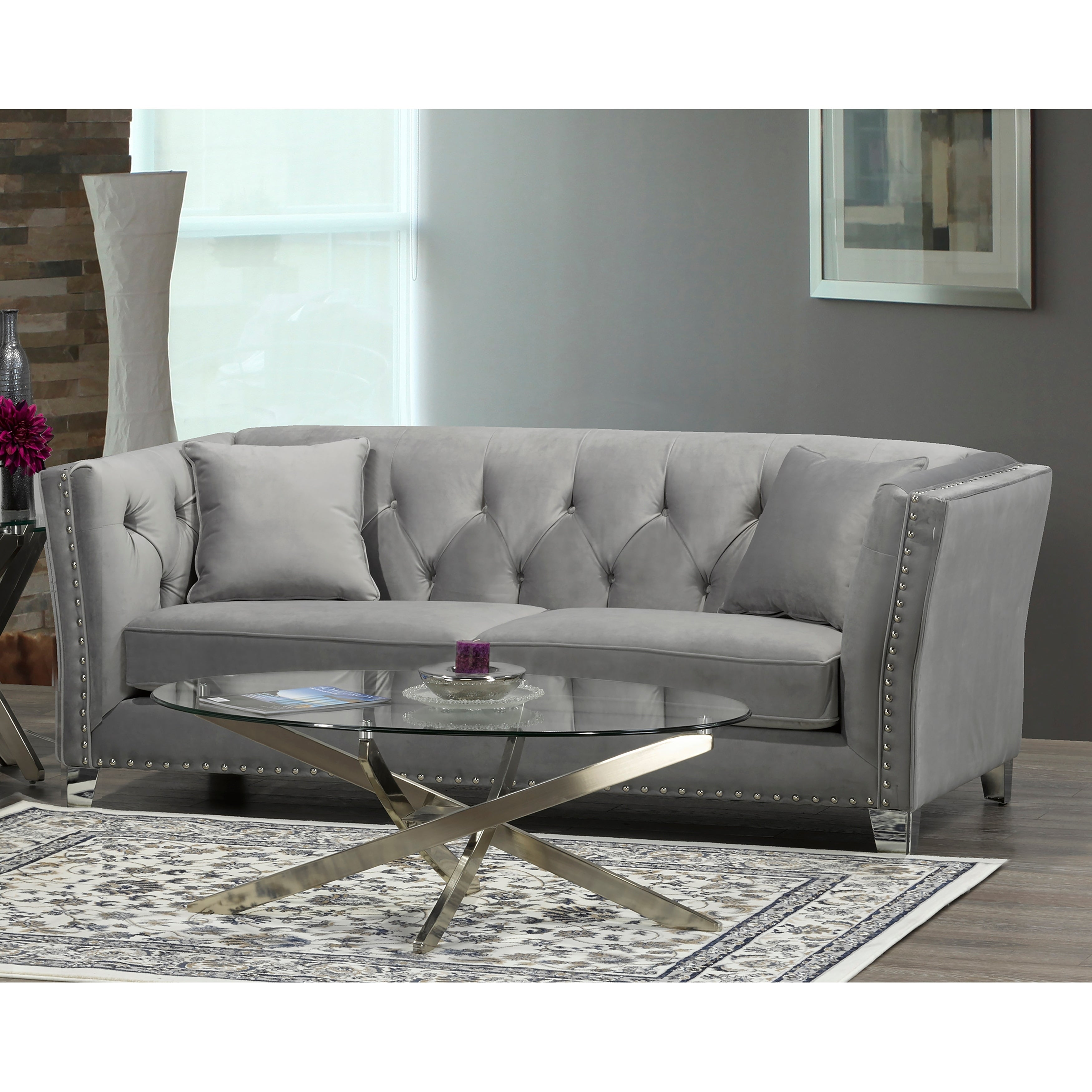 Grey Sofa With Nailheads Coffee Tables Ideas