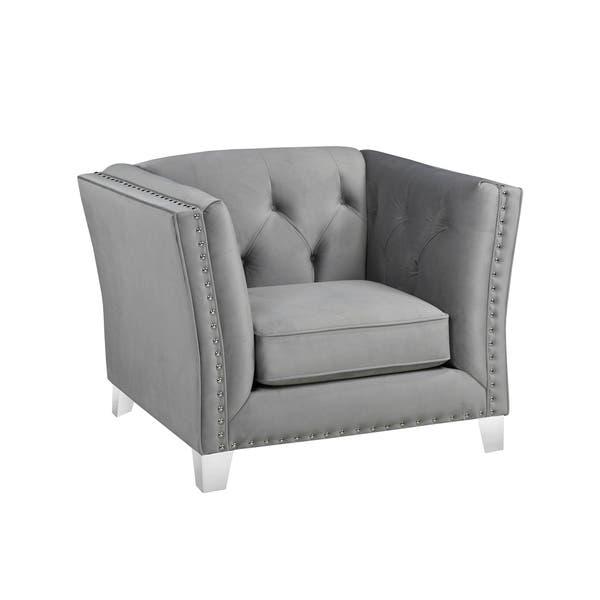 Terrific Shop Fiona Modern Grey Velvet Tufted Nailhead Sofa Loveseat Machost Co Dining Chair Design Ideas Machostcouk