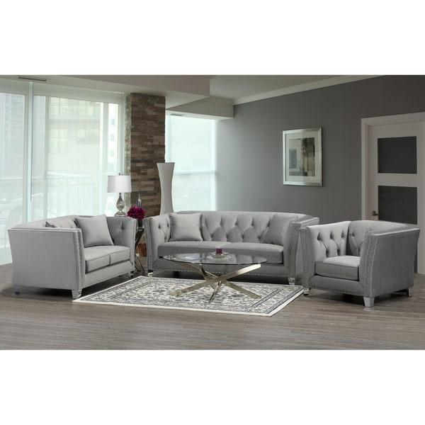 Modern Nailhead Sofa: Shop Fiona Modern Grey Velvet Tufted Nailhead Sofa