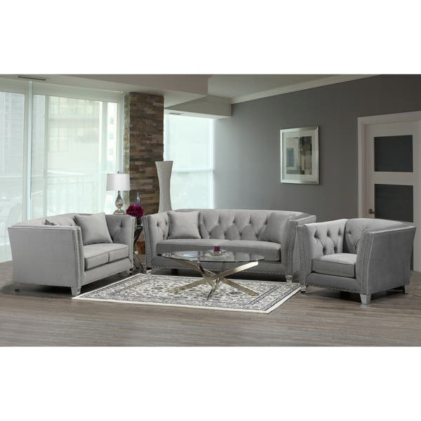 Magnificent Shop Fiona Modern Grey Velvet Tufted Nailhead Sofa Loveseat Ibusinesslaw Wood Chair Design Ideas Ibusinesslaworg