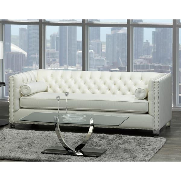 Astounding Shop Oz Modern Ivory Velvet Tufted Nailhead Sofa And Two Short Links Chair Design For Home Short Linksinfo