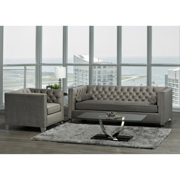 Modern Nailhead Sofa: Shop Hank Modern Grey Velvet Tufted Nailhead Sofa And