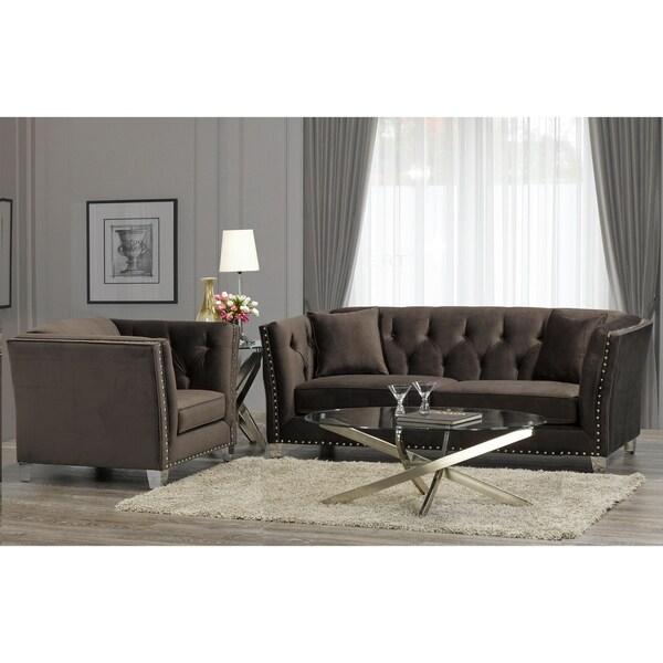 Modern Nailhead Sofa: Shop Harlow Modern Chocolate Brown Velvet Tufted Nailhead