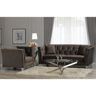 Harlow Modern Chocolate Brown Velvet Tufted Nailhead Sofa and Chair