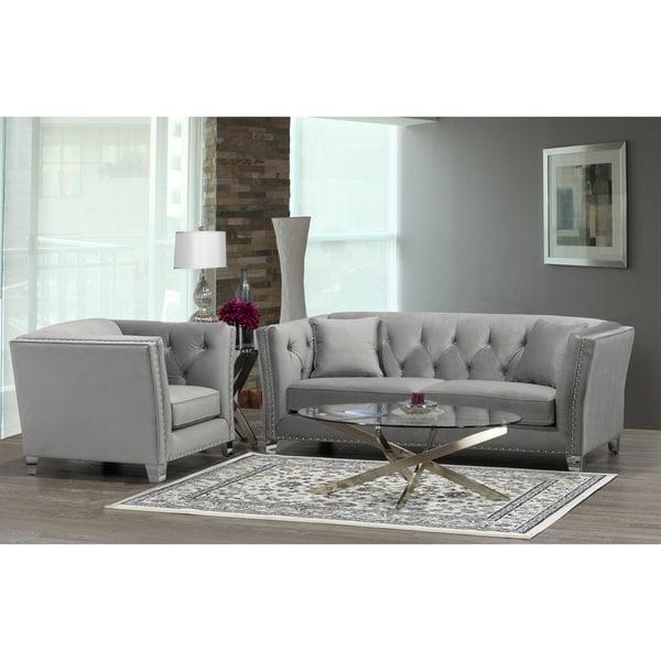 Modern Nailhead Sofa: Shop Fiona Modern Grey Velvet Tufted Nailhead Sofa And