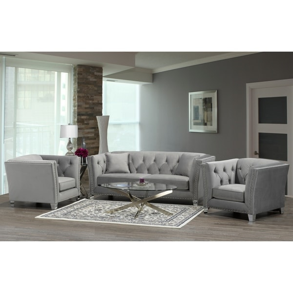Fiona Modern Grey Velvet Tufted Nailhead Sofa And Two Chairs