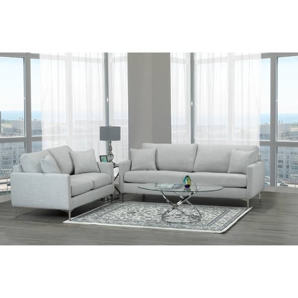Awe Inspiring Shop Rose Mid Century Modern Grey Fabric Sofa And Loveseat Caraccident5 Cool Chair Designs And Ideas Caraccident5Info