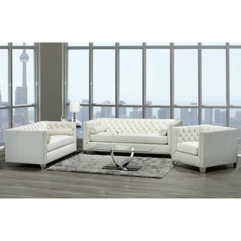 Oz Modern Ivory Velvet Tufted Nailhead Sofa, Loveseat and Chair