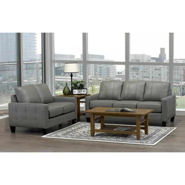 Shop Yellow Italian Leather Sofa: Shop Roy Mid Century Modern Grey Top Grain Italian Leather