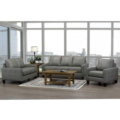 Roy Mid Century Modern Grey Top Grain Italian Leather Tufted Sofa, Loveseat and Chair