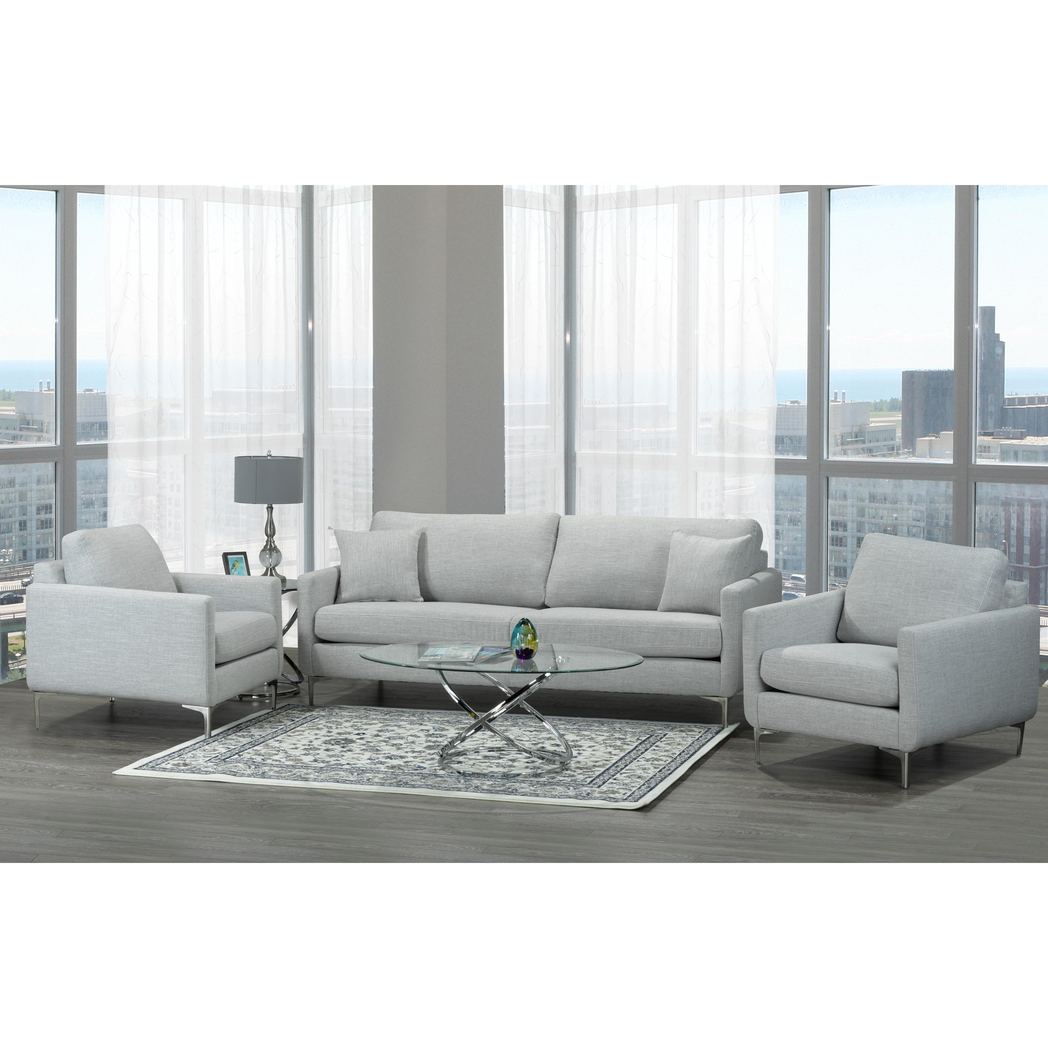 Mid Century Modern Grey Fabric Sofa