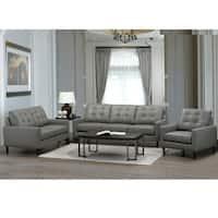 Colt Mid Century Modern Grey Top Grain Italian Leather Tufted Sofa, Loveseat and Chair
