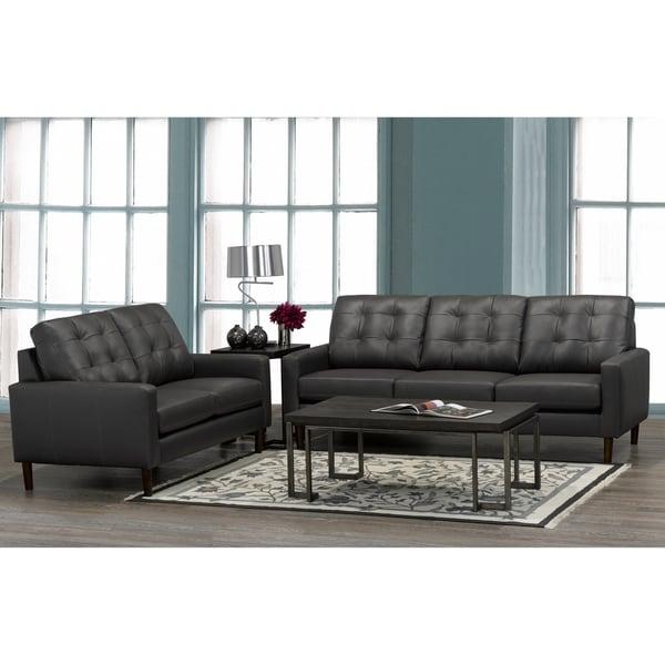 Gunner Mid Century Modern Dark Grey Top Grain Italian Leather Tufted Sofa And Loveseat