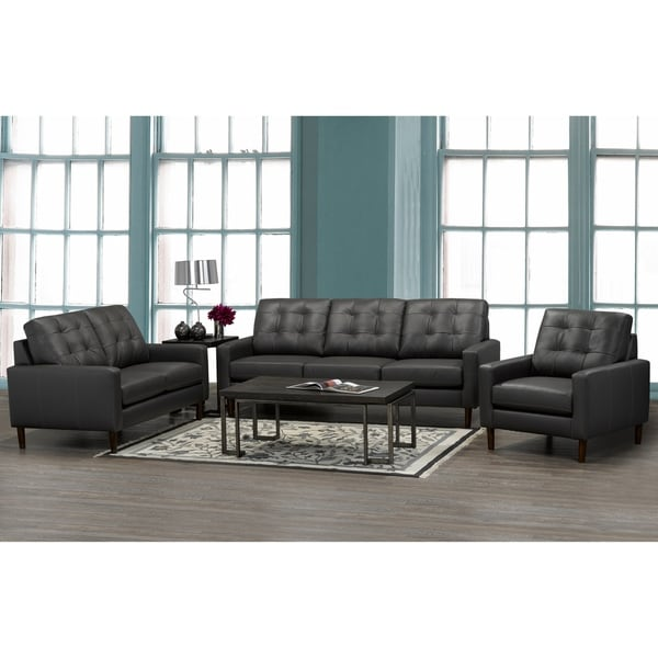 Shop Bryce White Italian Leather Sofa And Two Chairs: Shop Gunner Mid Century Modern Dark Grey Top Grain Italian
