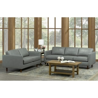 Booker Mid Century Modern Grey Top Grain Italian Leather Tufted Sofa And  Loveseat