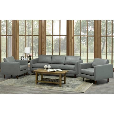 Booker 3-piece Grey Top Grain Leather Living Room Set