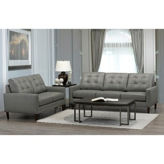 Colt Mid Century Modern Grey Top Grain Italian Leather Tufted Sofa and Loveseat