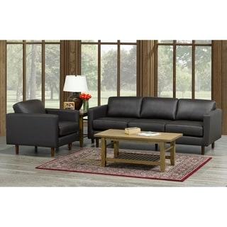 Lola Mid Century Modern Chocolate Brown Top Grain Italian Leather Tufted Sofa and Chair