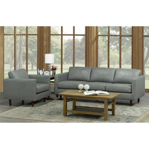 Booker Mid Century Modern Grey Top Grain Italian Leather Tufted Sofa and Chair