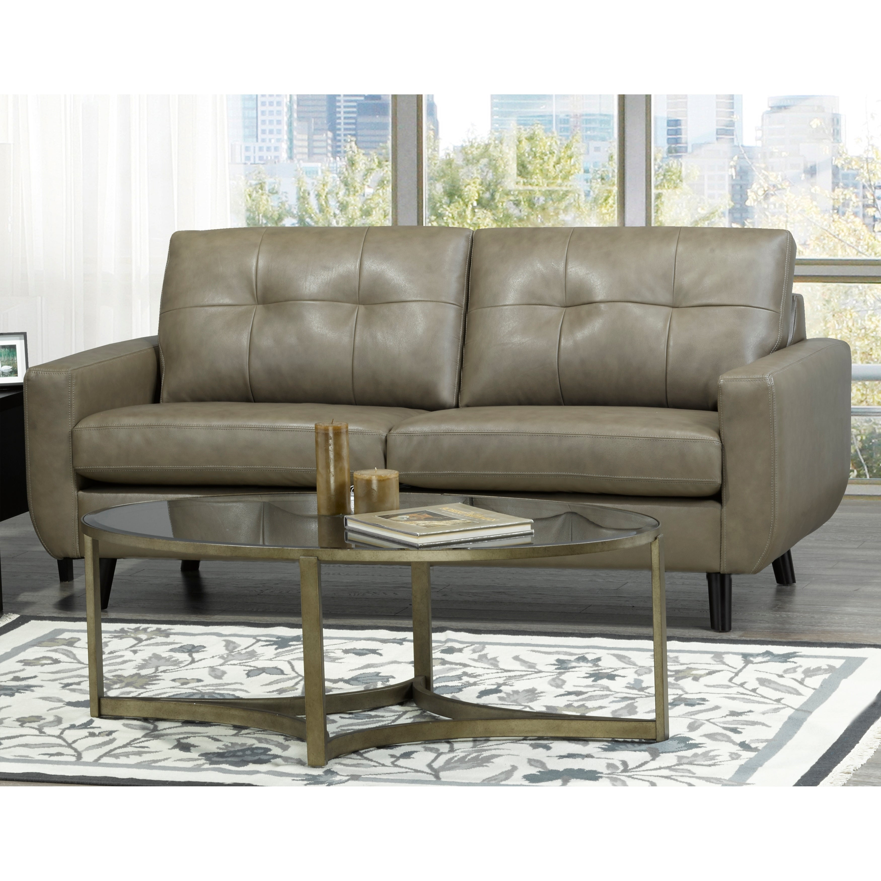 Magnificent Maisie Mid Century Modern Moss Green Grey Top Grain Italian Leather Tufted Sofa Loveseat And Chair Gamerscity Chair Design For Home Gamerscityorg