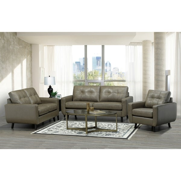 Shop Yellow Italian Leather Sofa: Shop Maisie Mid Century Modern Moss Green/Grey Top Grain