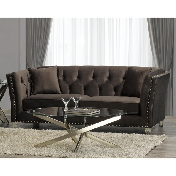 Harlow Modern Chocolate Brown Velvet Tufted Nailhead Sofa